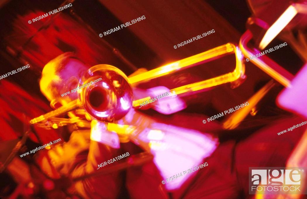 Stock Photo: Horn Player in a Band.