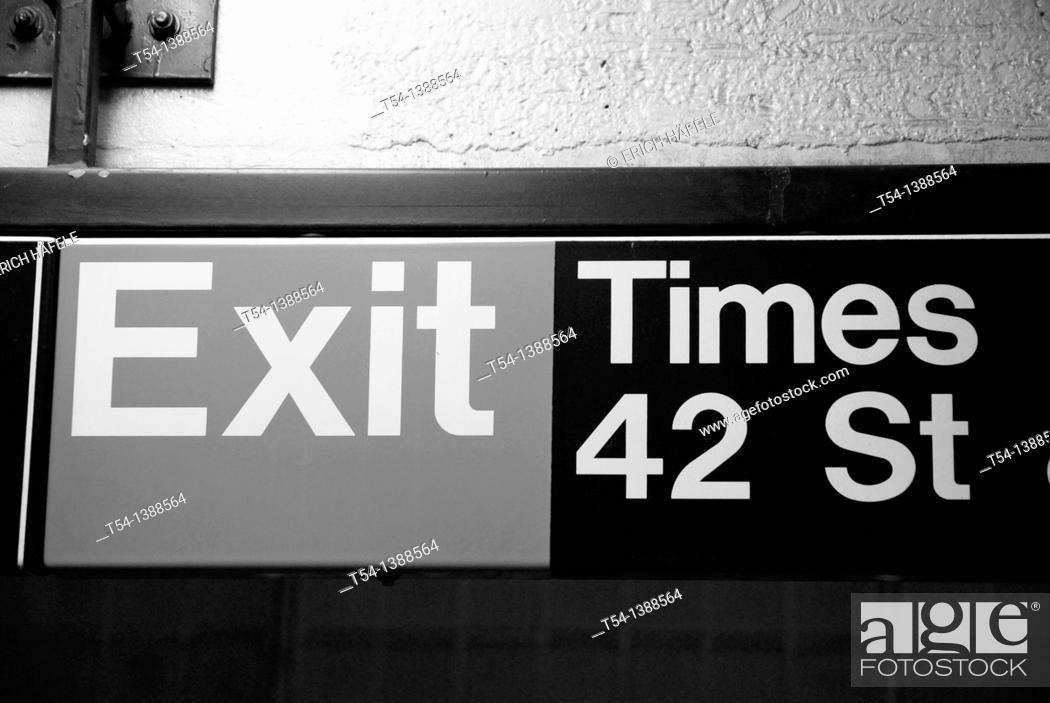 Stock Photo: Exit Tabel from the New york Subway in 42 Street.