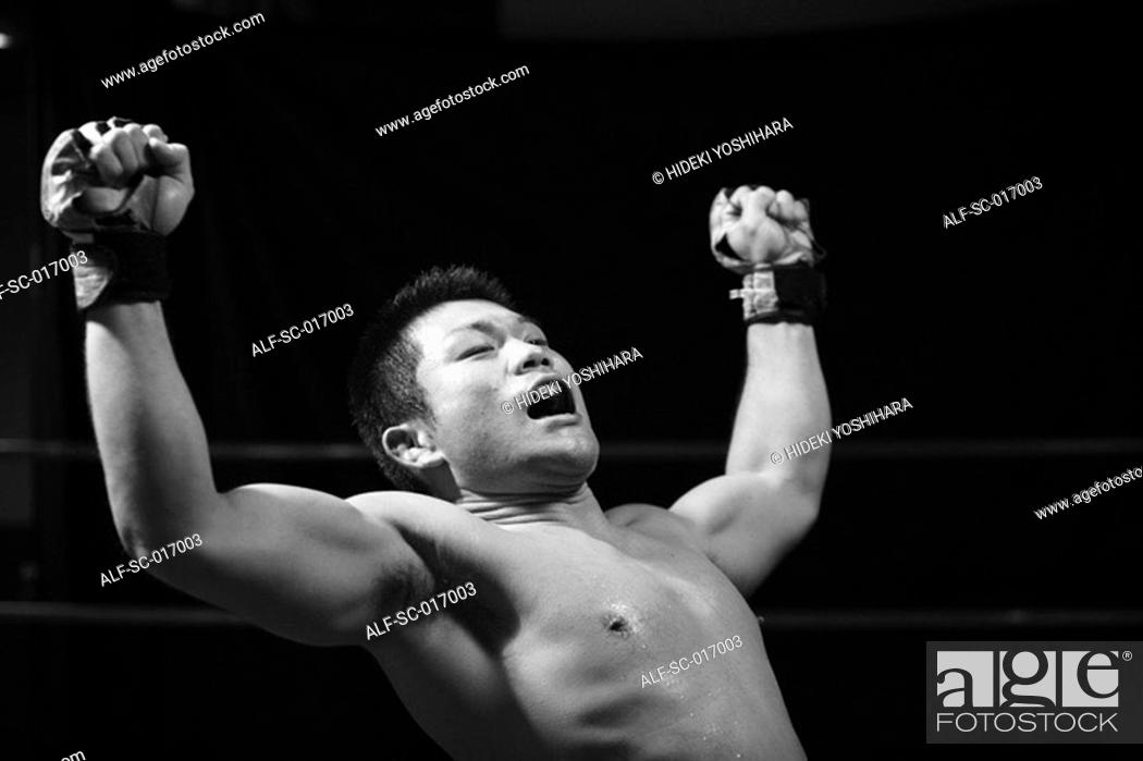 Stock Photo: Fighter shouting.