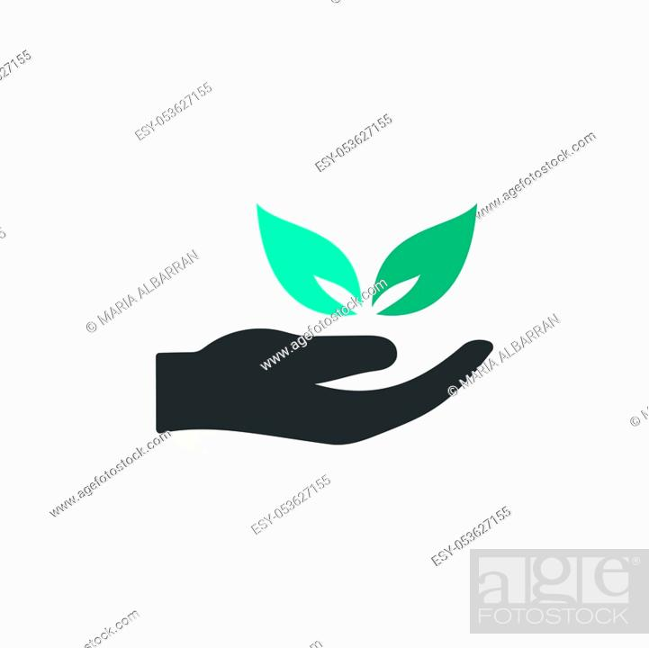 Stock Vector: Hand and leaves. Flat color icon with beige shade. Ecology, pharmacy and nature vector illustration.