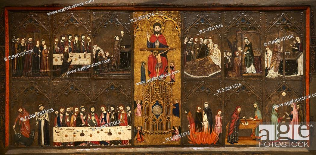 Stock Photo: Gothic painted Altarpiece of the Corpus Christi by Master of Vallbona de les Monges possibly Guillem Seguer. Tempera, stucco reliefs.