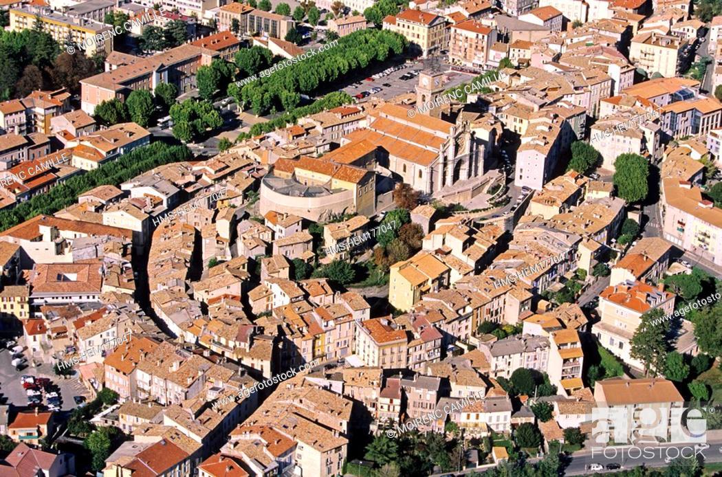 Stock Photo: France, Alpes de Haute Provence, Digne les Bains aerial view.