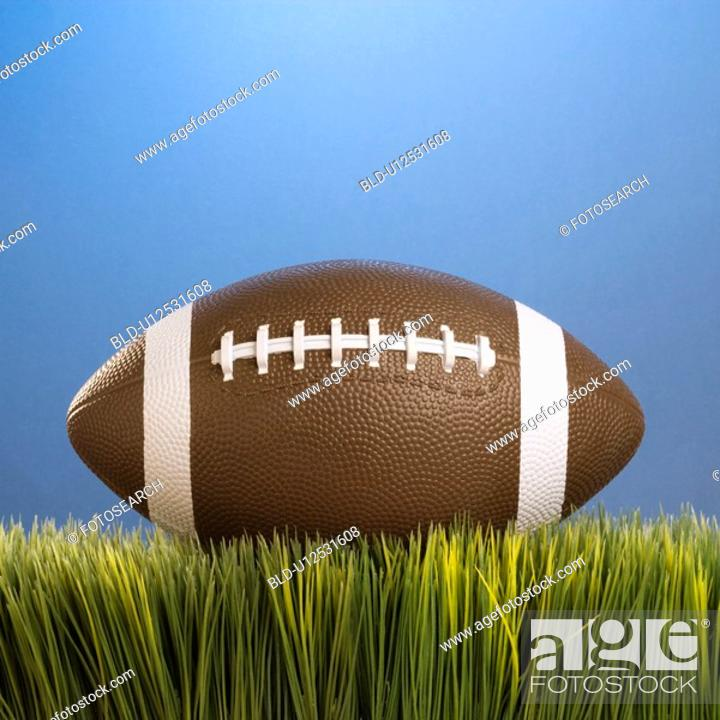 Stock Photo: Studio shot of football resting in grass.