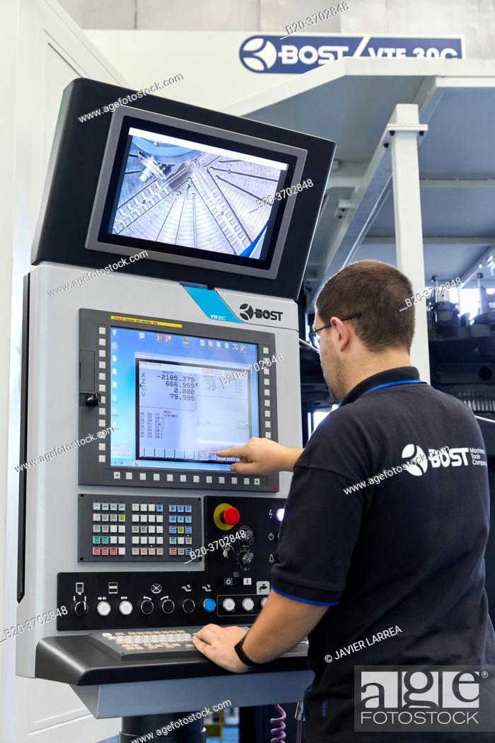 Stock Photo: Control center, Construction of machine tools, machining centre, CNC, Vertical turning and Milling lathe, Metal industry, Gipuzkoa, Basque Country, Spain.