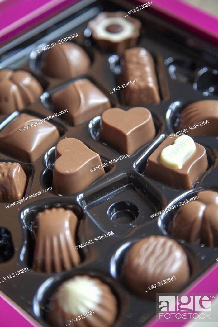 Stock Photo: Chocolates in a Box.