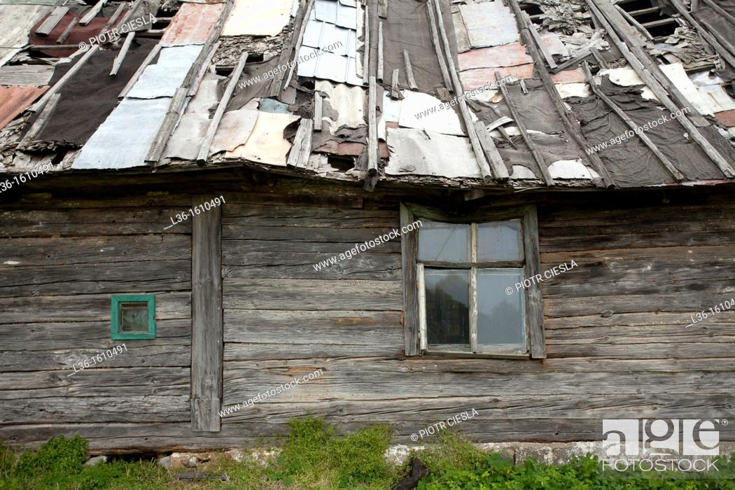 Stock Photo: An old abandoned rural house in Poland.