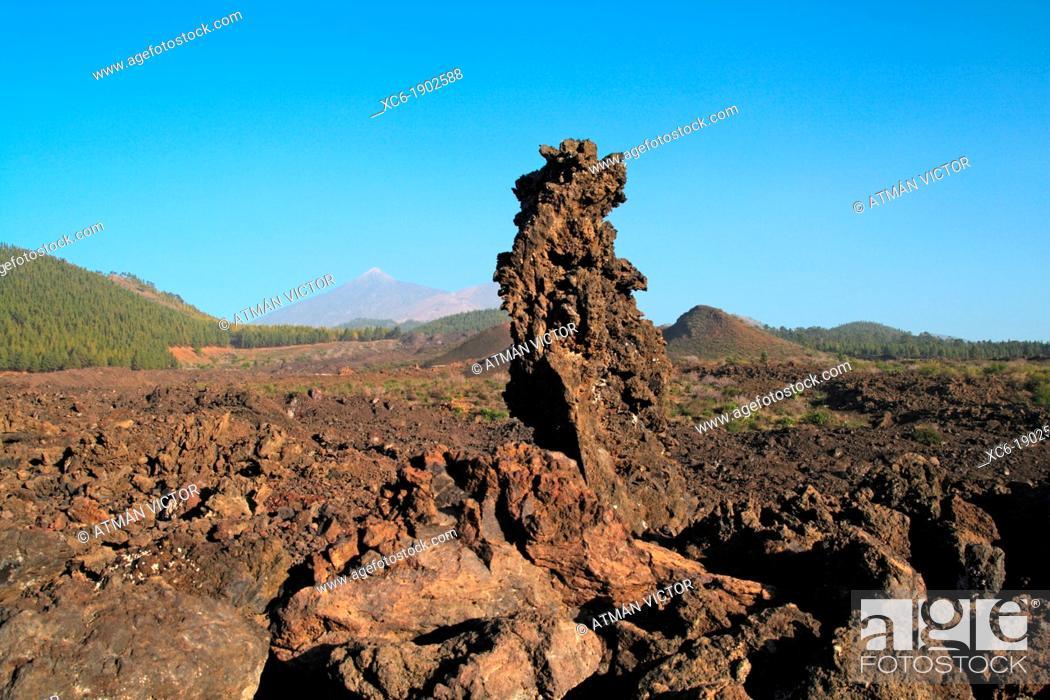 Stock Photo: Volcanic lava landscape in Teide National Park.