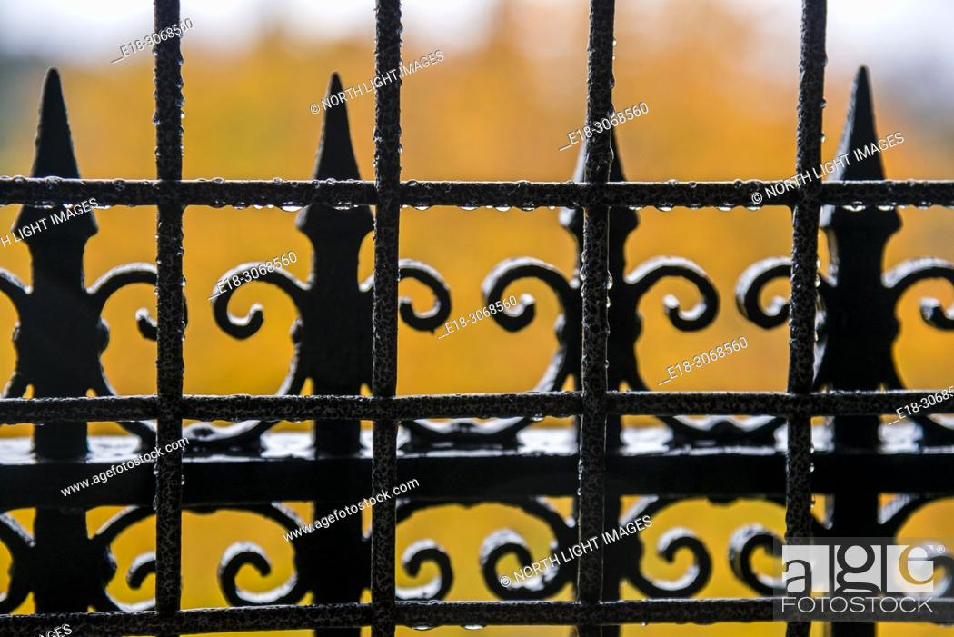 Stock Photo: USA, WA, Seattle. Volunteer Park. Fall colors in the background of wrought iron fence.