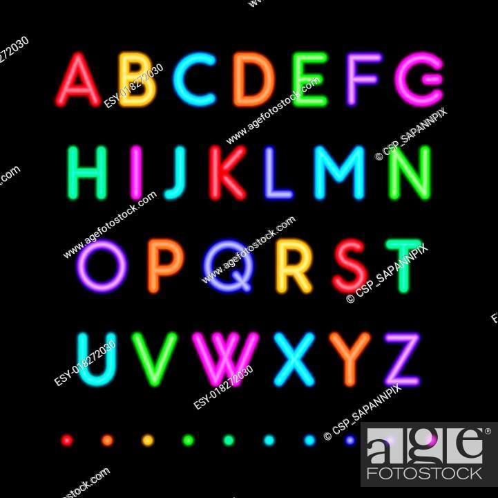 Stock Vector: neon capital alphabets.