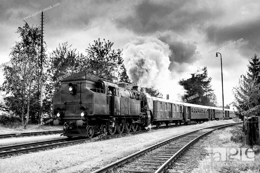 Stock Photo: Black and white photo of old steam train.