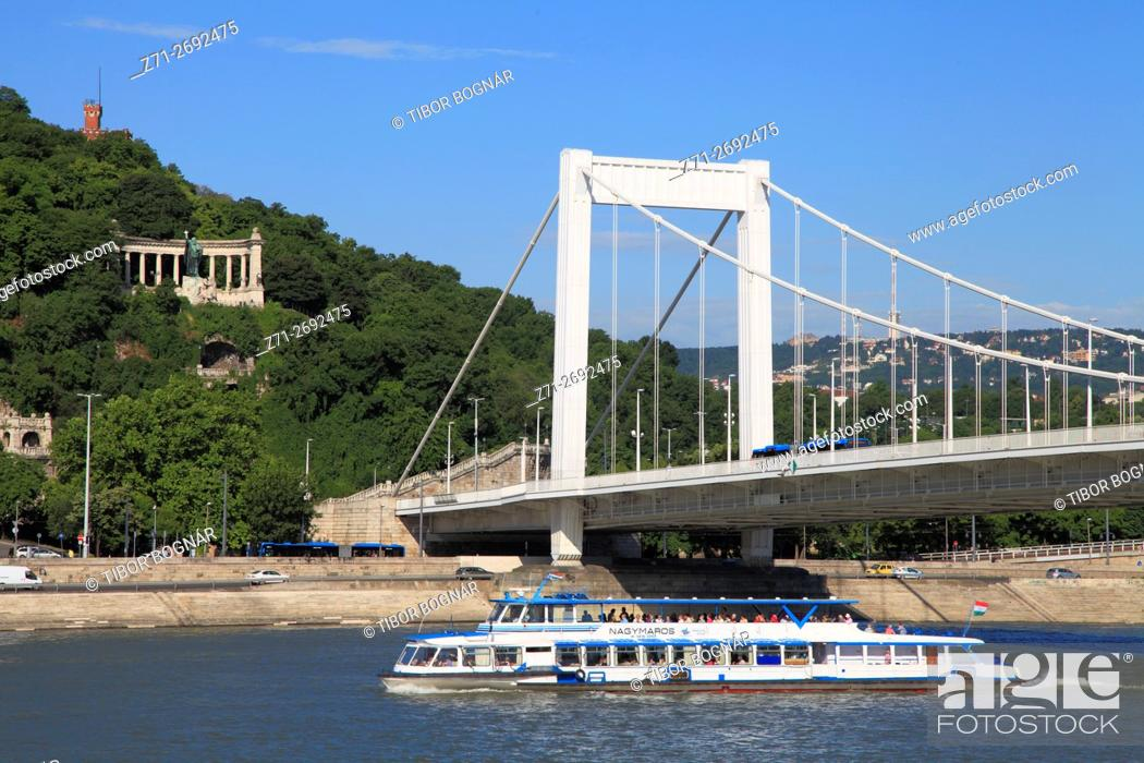 Imagen: Hungary, Budapest, Danube River, Elisabeth Bridge, St Gellért monument, .