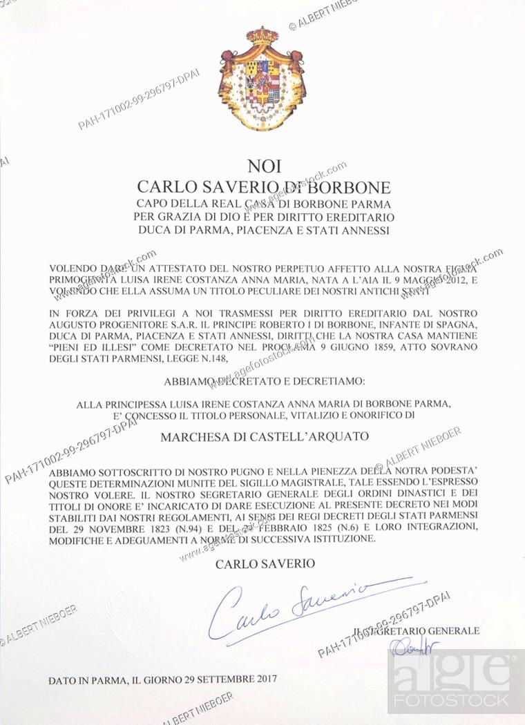 Certificate Of Title Of Marchioness Of Castellarquato Of Princess