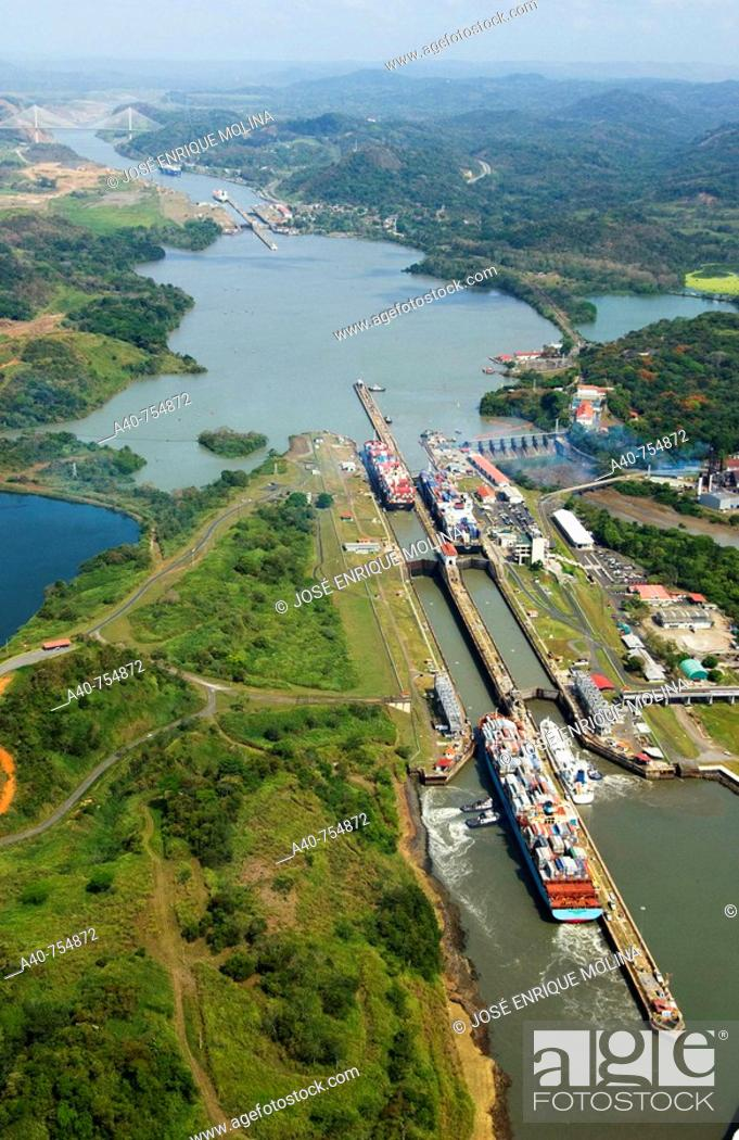 Stock Photo: Panama. Panama Canal and  Miraflores locks. Aerial view.