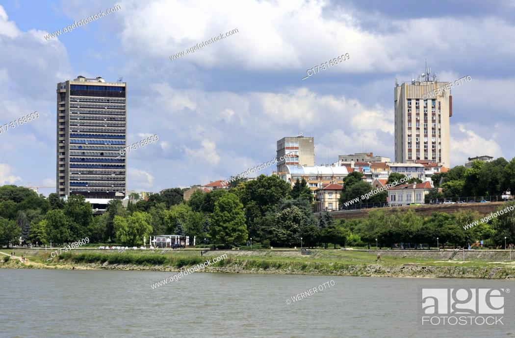 Stock Photo: Russe, Rousse, Ruse, Bulgaria, Northern Bulgaria, Ruse at the Danube, Rousse, Russe, Danube lowlands, Grand Hotel Riga, highrise, residential houses.