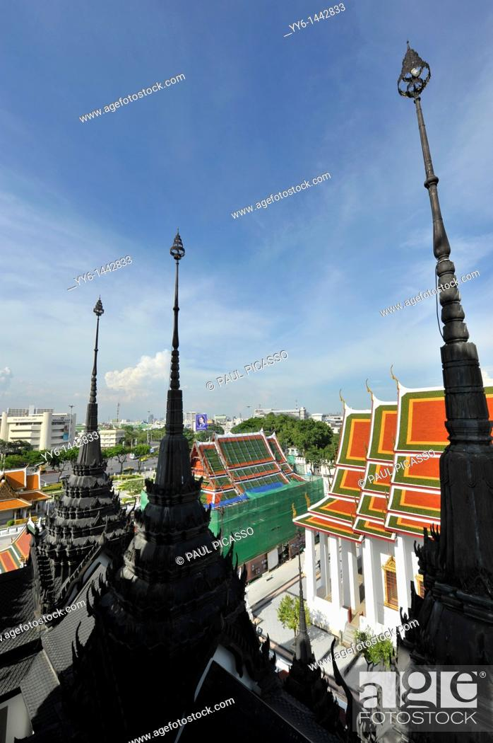 Stock Photo: The spires of loha prasat, view from the top of the temple, Bangkok, thailand.