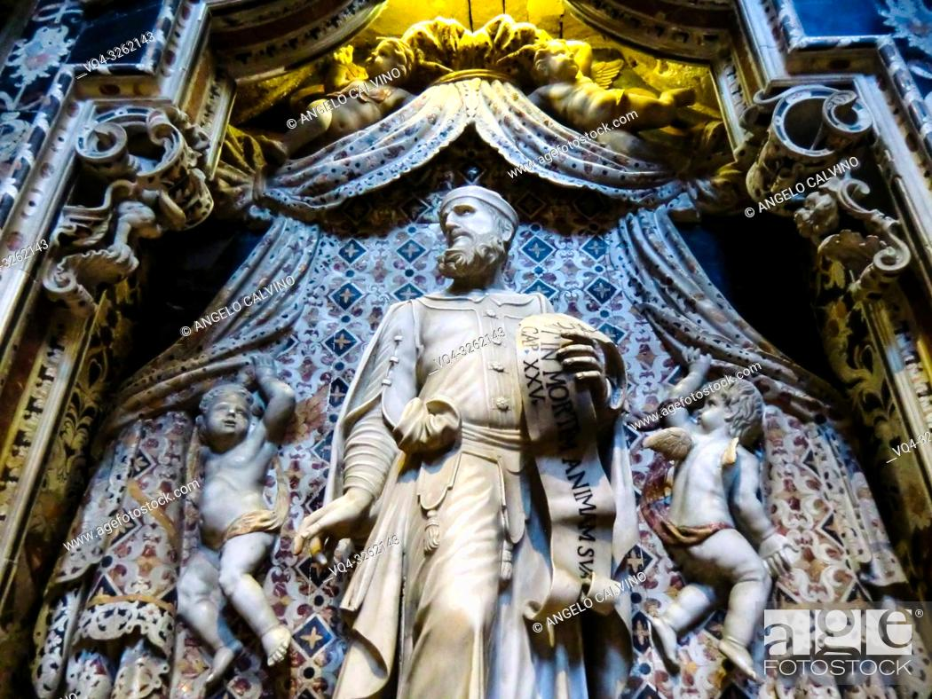 Stock Photo: Palermo, Cathedral of Monreale, The cathedral interior of the Cappella Santissimo Crocificco, Sicily. Italy.