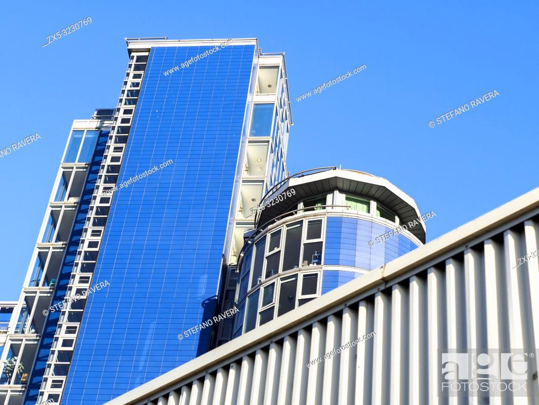Stock Photo: Falcon Wharf Apartments building in Wandsworth - South West London, England.