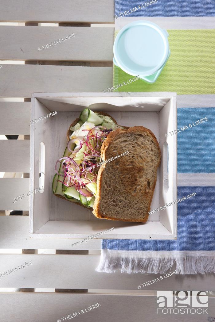 Stock Photo: Grilled vegetable sandwich with basil mayonnaise.