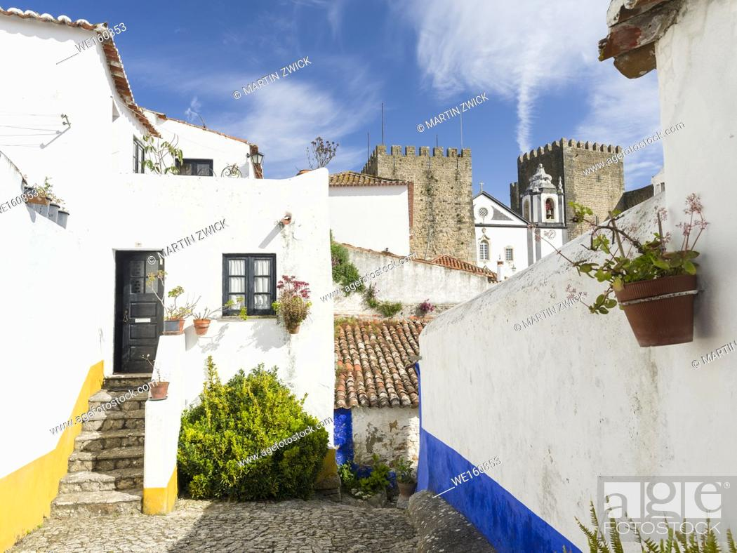 Stock Photo: Historic small town Obidos with a medieval old town, a tourist attraction north of Lisboa Europe, Southern Europe, Portugal.