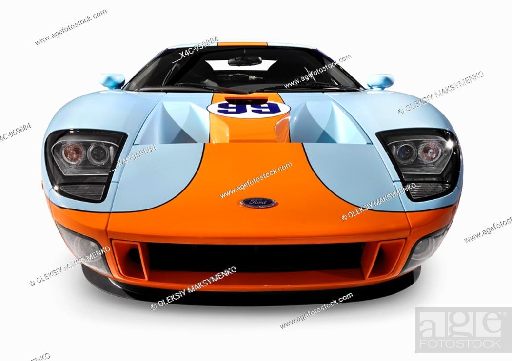 Stock Photo  Ford Gt Blue With Orange Powerful Stylish Sports Car Isolated On White
