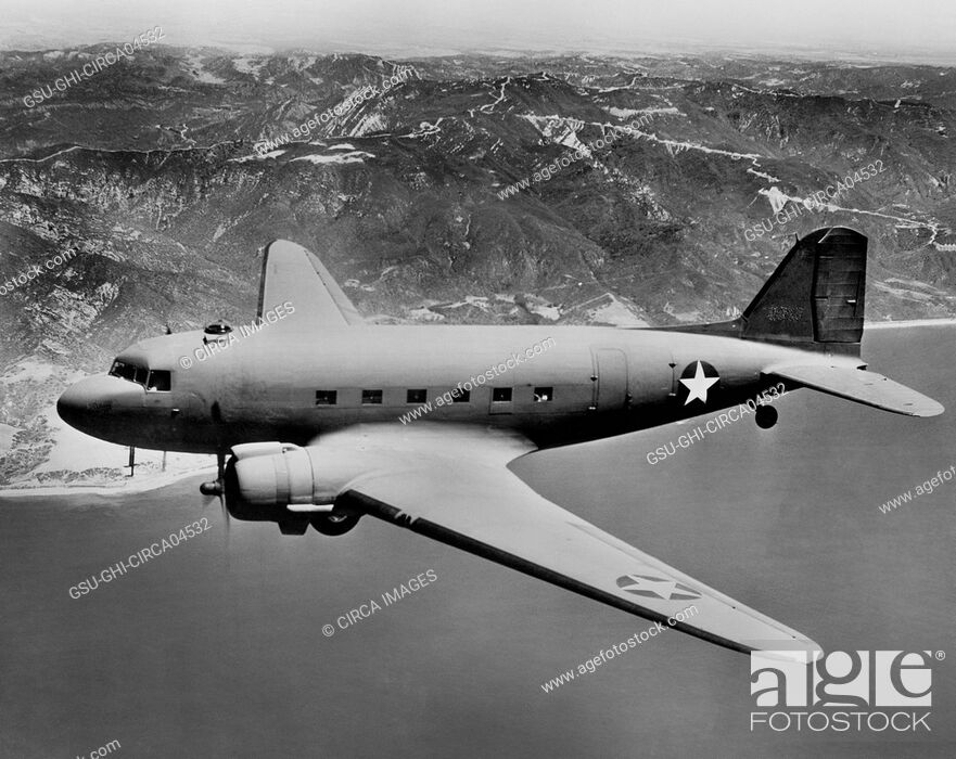 Stock Photo: U.S. Army Douglas C-47 Military Aircraft, In-Flight, Office of War Information, 1942.