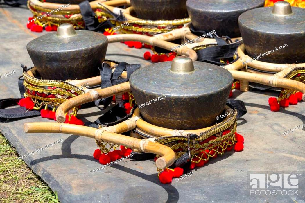 Stock Photo: Traditional musical instruments used in Gamelan orchestra played in leather puppet show, Gamelan instruments, Javanese traditional musical instruments used in.