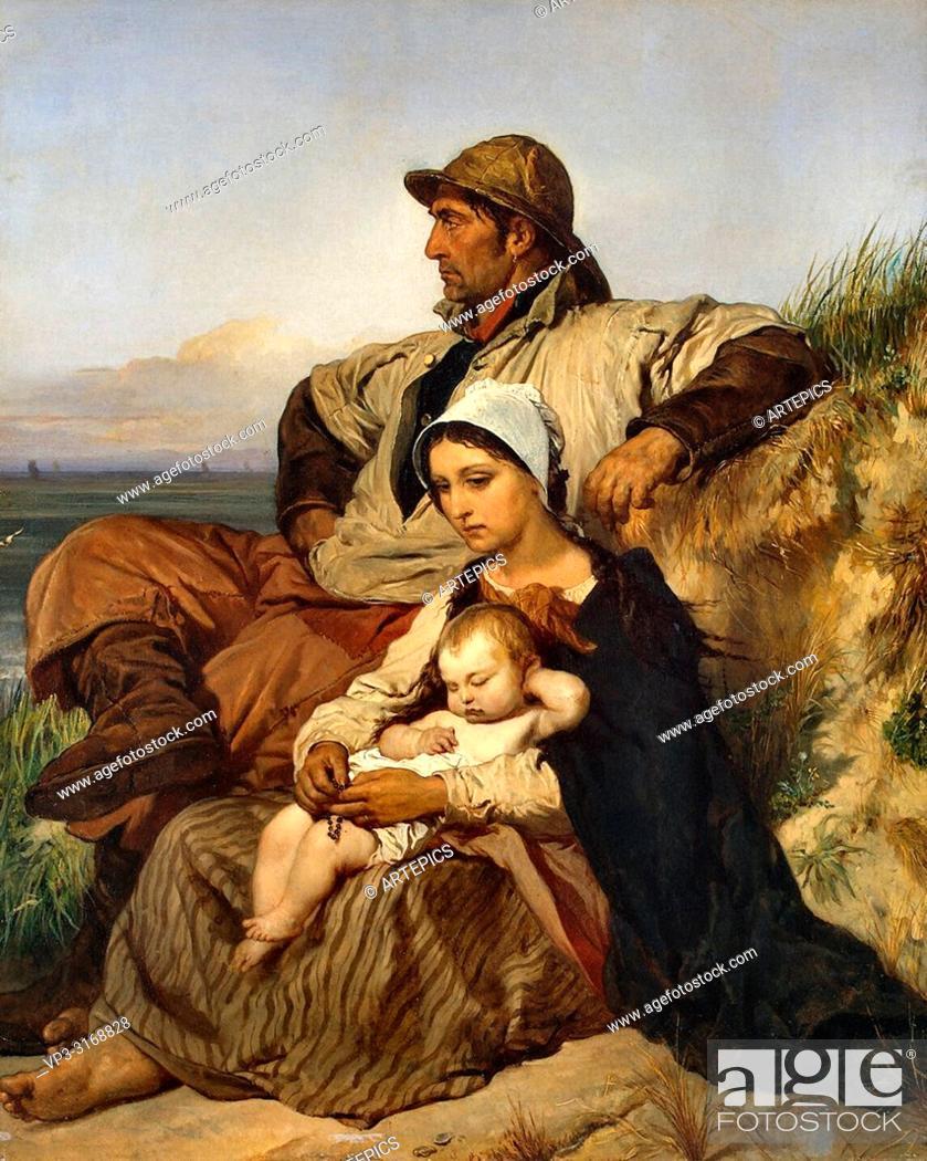 Stock Photo: Gallait Louis - a Fisherman's Family.