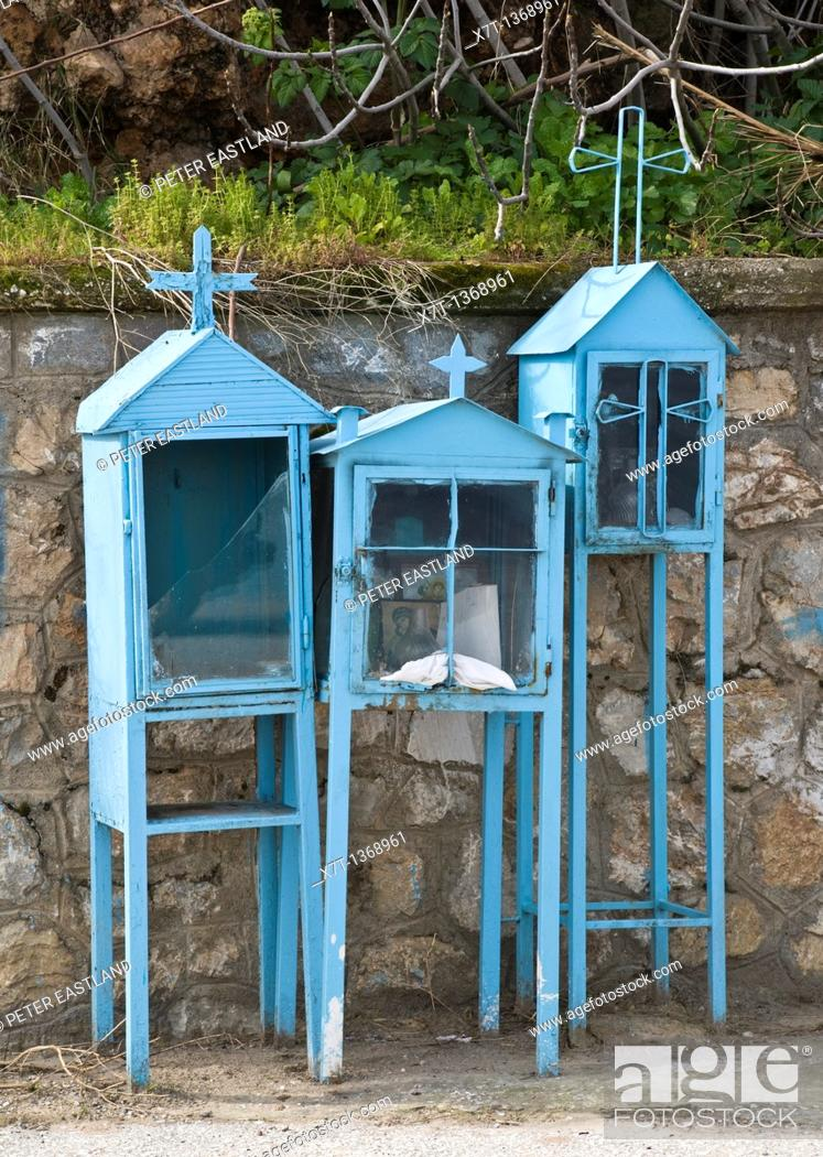 Stock Photo: Roadside shrines in the town of Gythio, Lakonia, Southern Peloponnese, Greece.