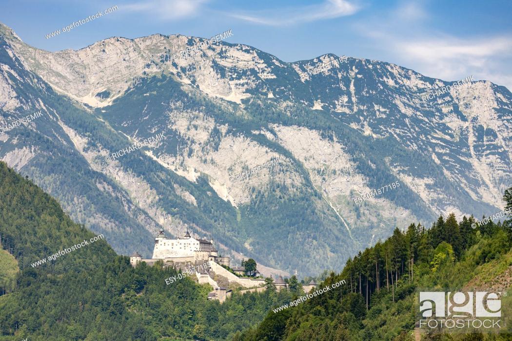 Stock Photo: Hohenwerfen Castle in Alps, Austria.