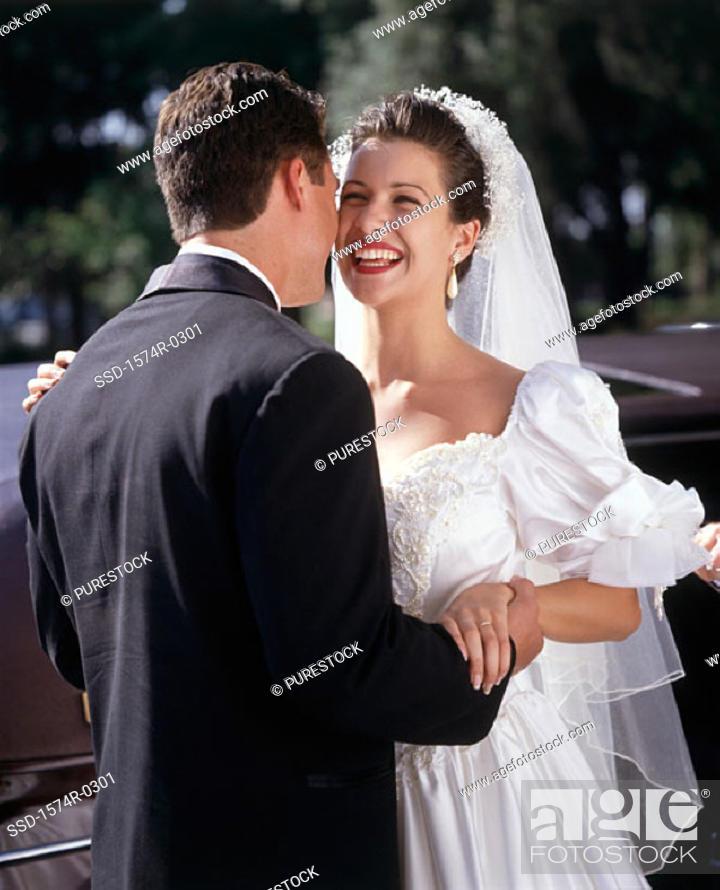 Stock Photo: Bride and bridegroom at a wedding.