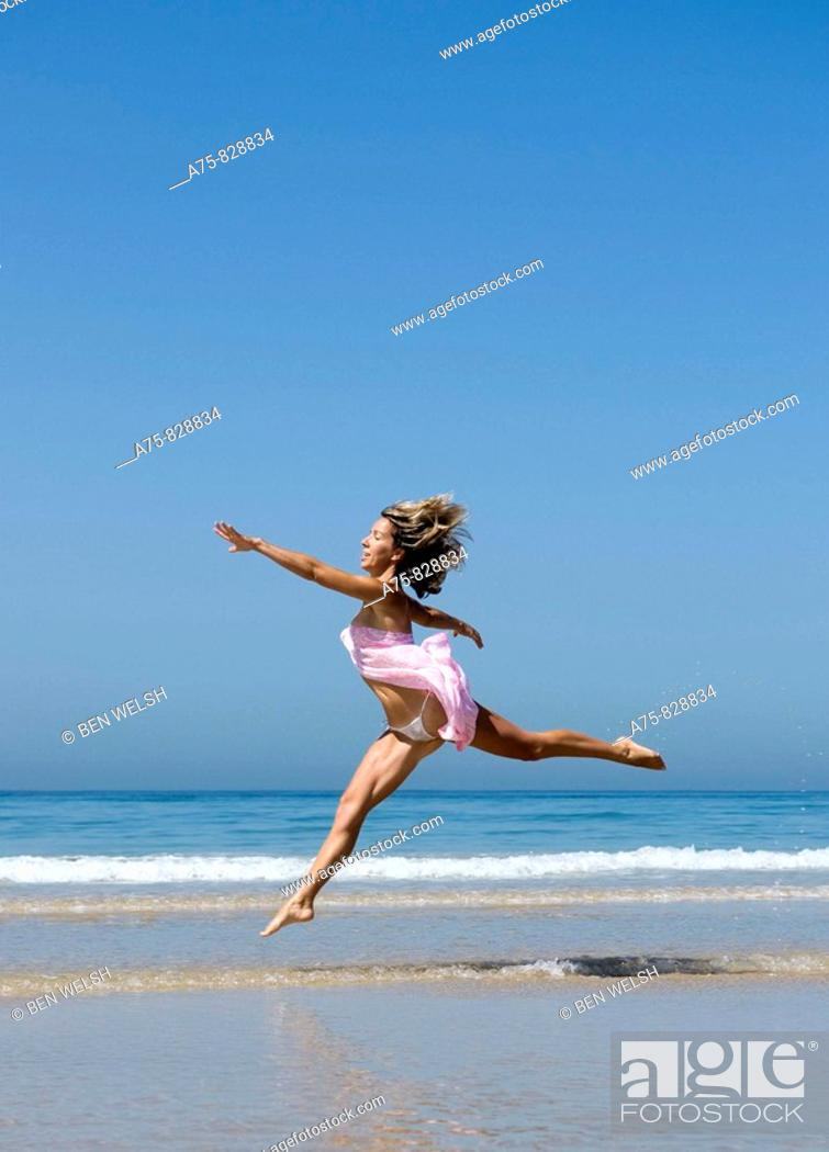 Stock Photo: Woman on the beach.