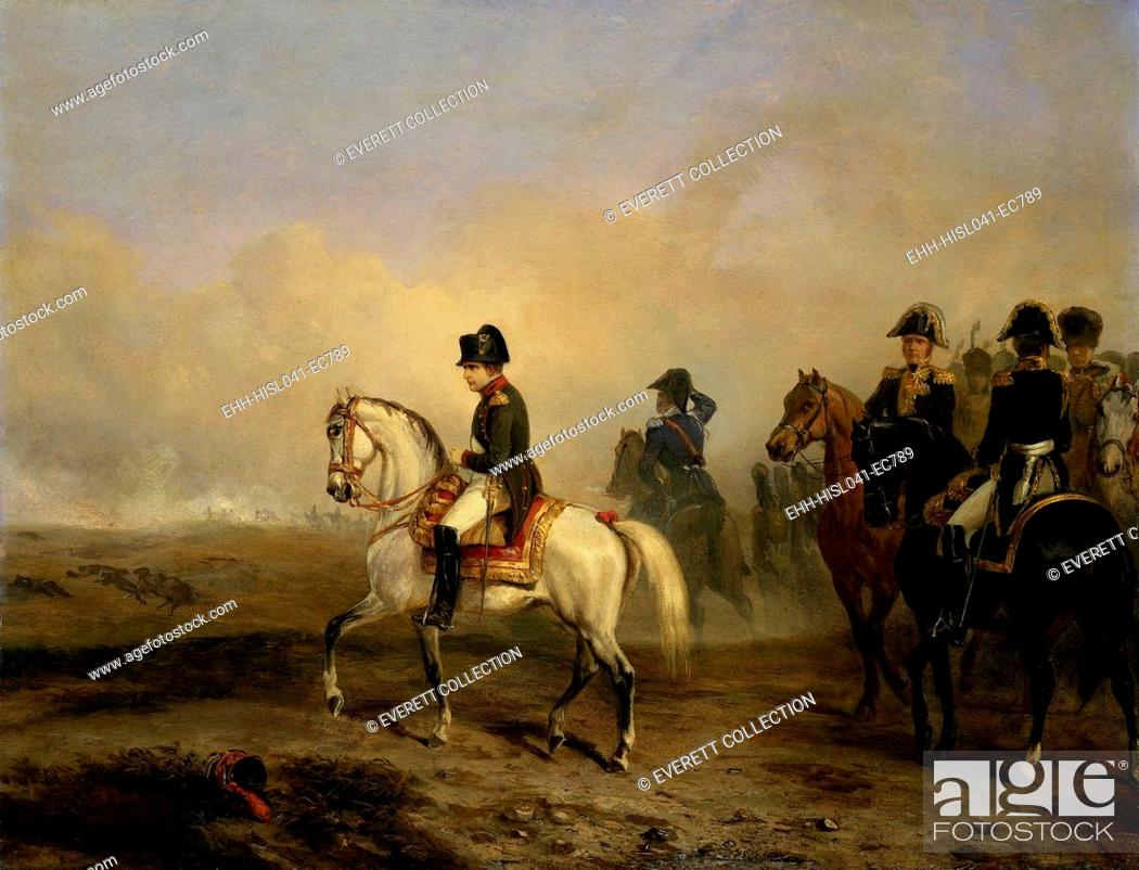 Stock Photo: Emperor Napoleon I and his Staff on Horseback, Horace Vernet, c. 1815-50, French oil painting. In the distance is the smoke from a battle of the Napoleonic Wars.