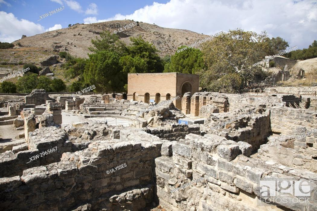 Stock Photo: Theatre, archaeological site of Gortyna, Crete island, Greece, Europe.