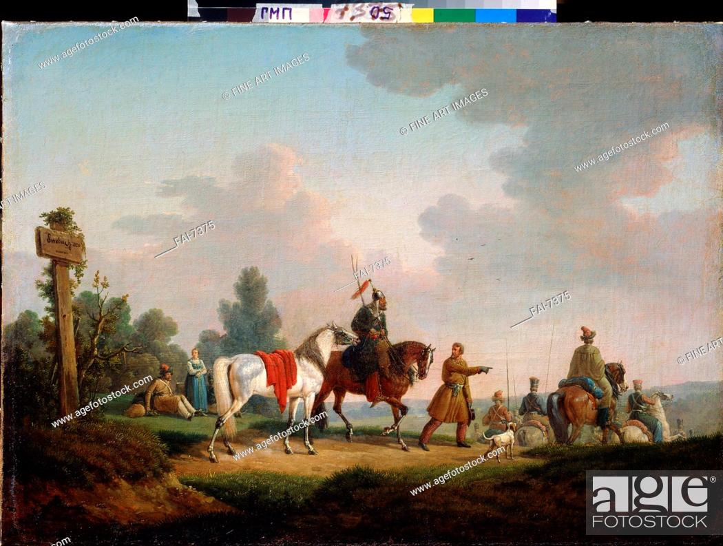 Stock Photo: The Partisans in 1812. Swebach, Bernard Eduard (1800-1870). Oil on canvas. French Painting of 19th cen. . 1820. A. Pushkin Memorial Museum, St.