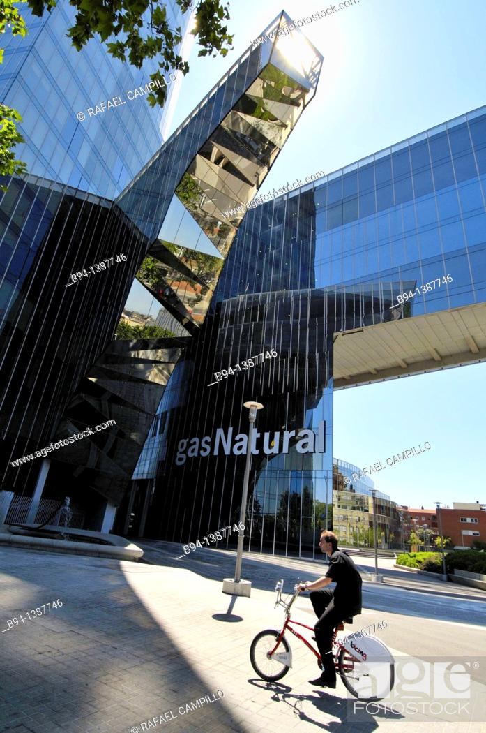 Stock Photo: Gas Natural building, 2007, by Benedetta Tagliabue (Milan, Italy 1963), Italian architect, Barcelona, Catalonia, Spain.