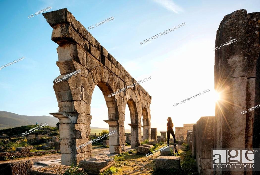 Stock Photo: Roman Ruins of Volubilis, Meknes, Morocco, North Africa.