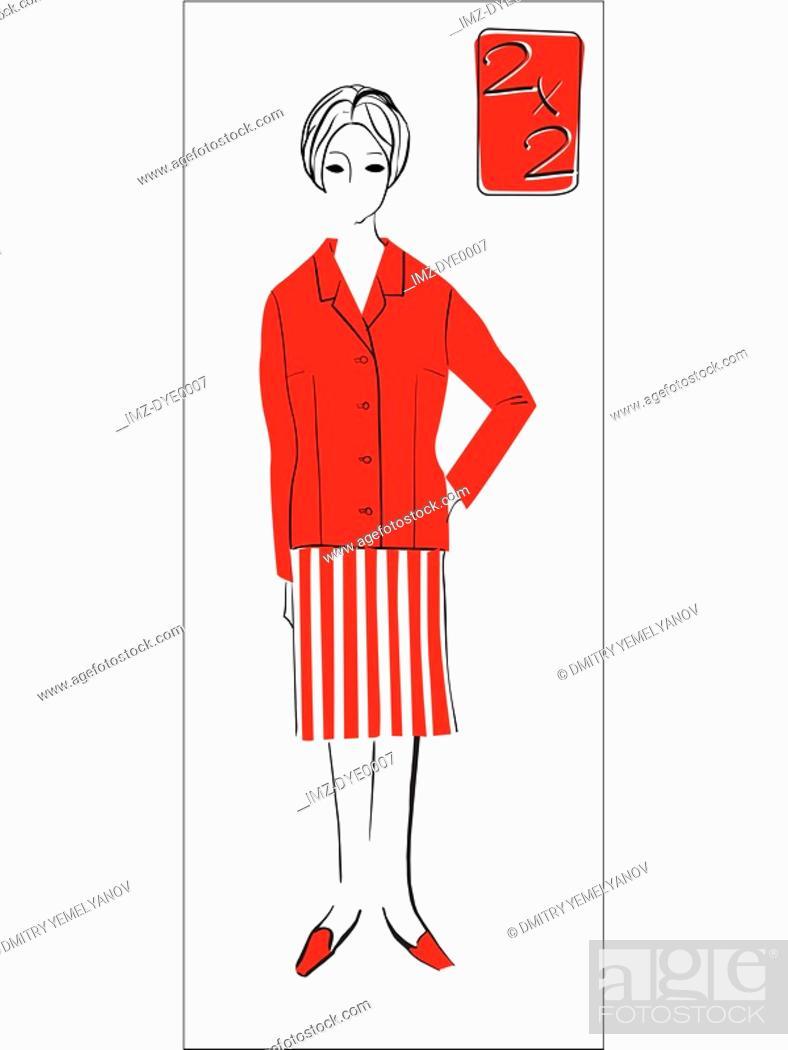 Stock Photo: A retro inspired illustration of a female mathematics teacher.