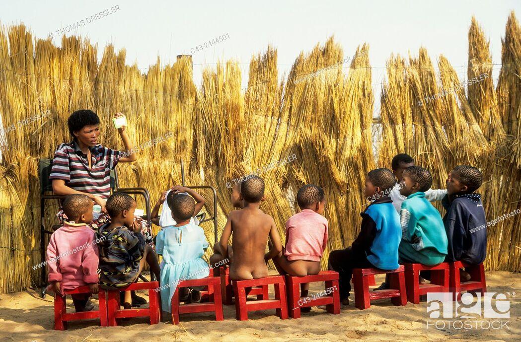 Stock Photo: School for Bushmen children. Intu Afrika Kalahari Game Reserve, Kalahari Desert, Namibia.