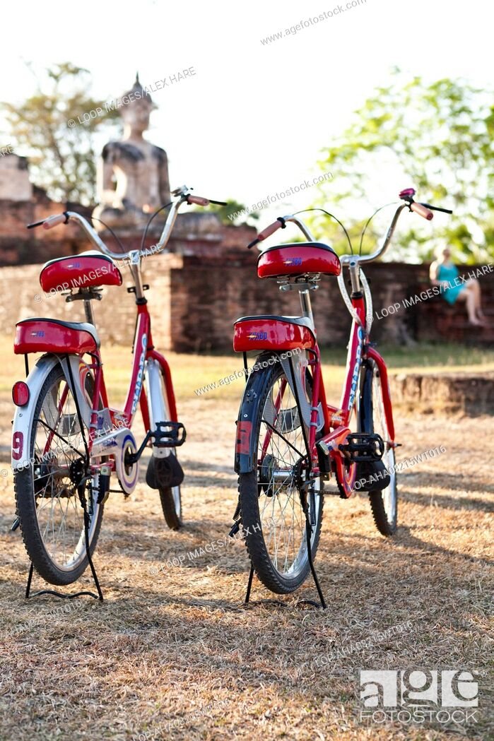 Stock Photo: Bicylces parked at Wat Mae Chon near Sukhothai.