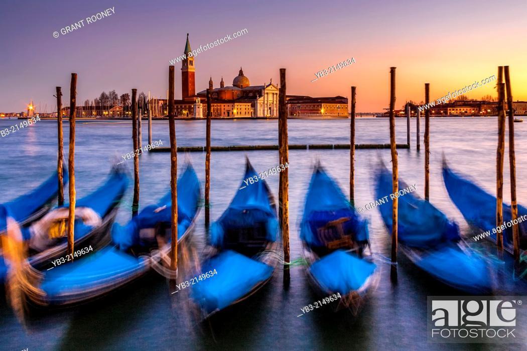 Stock Photo: Gondolas Moored Near St Marks Square, Venice, Italy.
