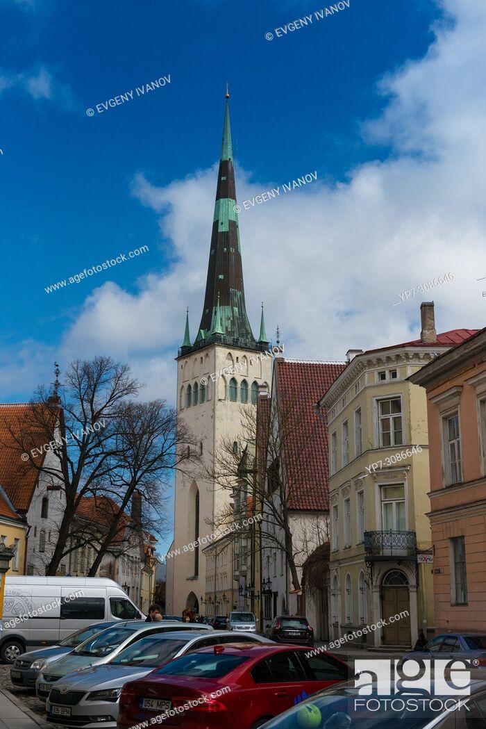 Stock Photo: St Olaf's Church, Oleviste, Tallinn, Estonia.