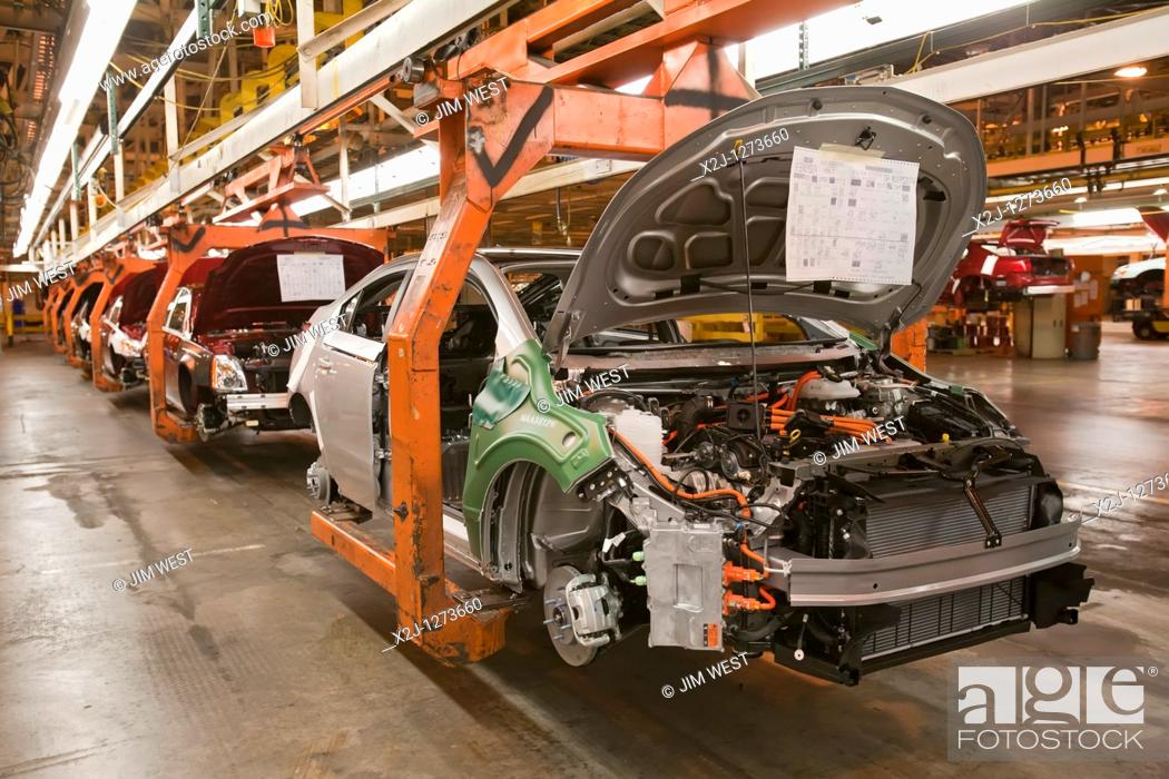 Stock Photo: Detroit, Michigan - A Chevrolet Volt on the assembly line at General Motors' Detroit-Hamtramck Assembly Plant  The Volt is powered by electricity.