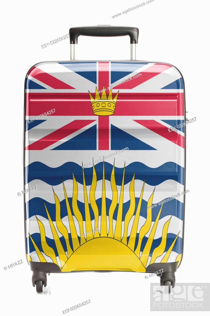 Stock Photo: Suitcase painted into Canadian territory or province flag series - British Columbia.