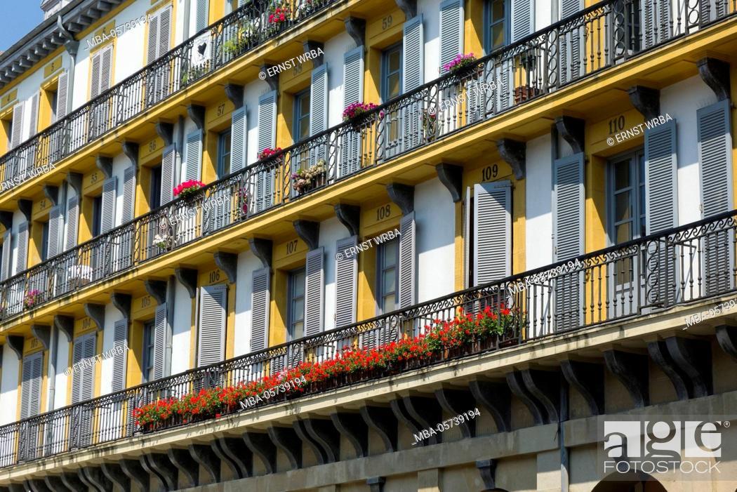 Stock Photo: House facade in the Piazza della Constitución, Old Town, Donostia-San Sebastián, Gipuzkoa, the Basque Provinces, Spain.