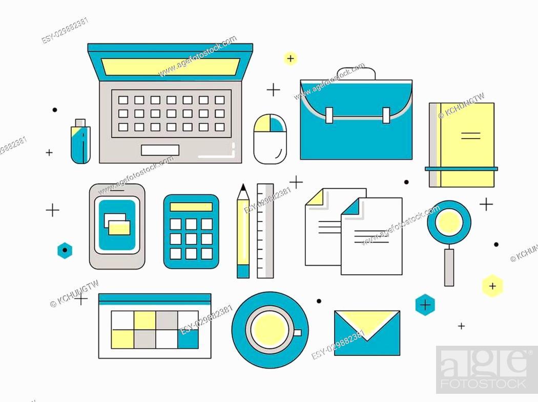 Stock Vector: thin line flat design of website programming process.