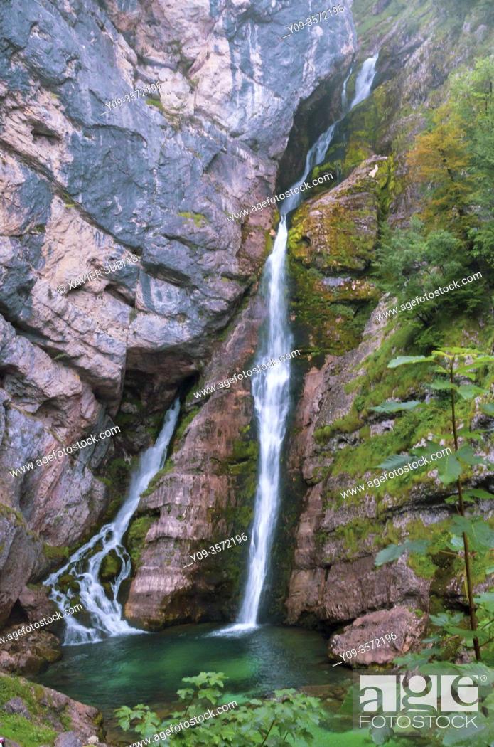 Stock Photo: Savica Falls, Sava Bohinjka River, Bohinj, Slovenia.