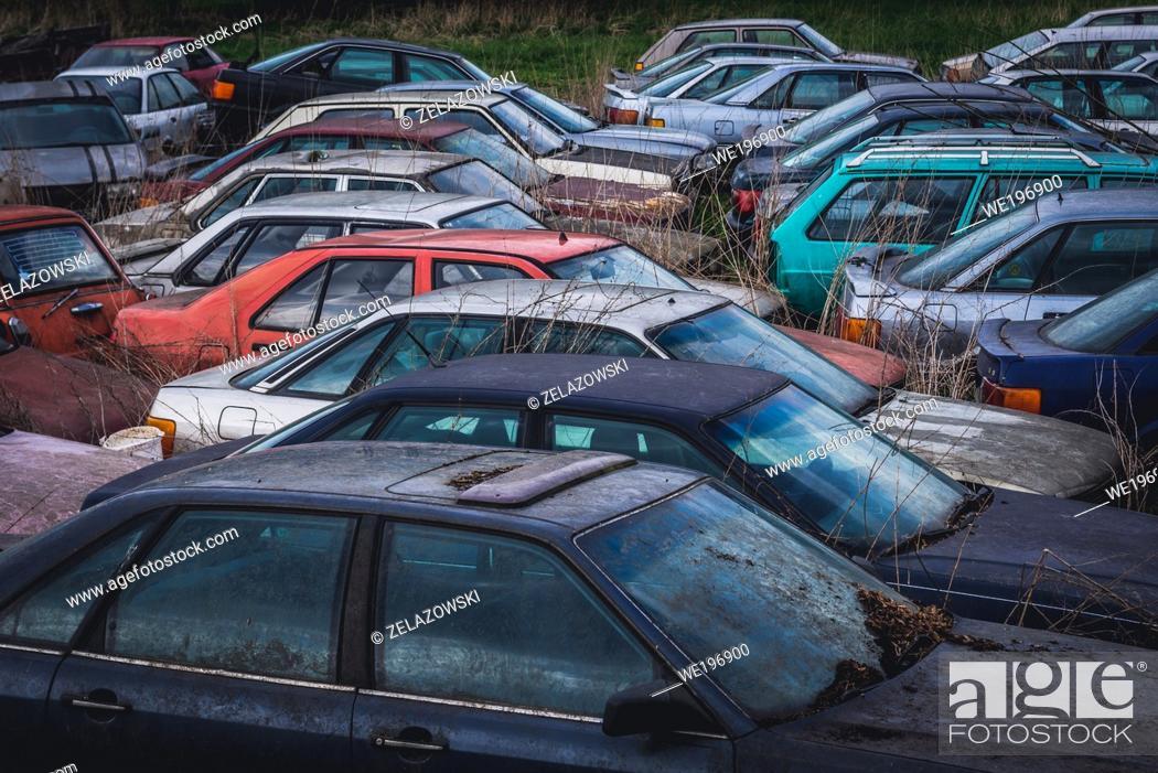 Stock Photo: Car wrecking yard in Dobra village near Frydek-Mistek city in the Moravian-Silesian Region of Czech Republic.