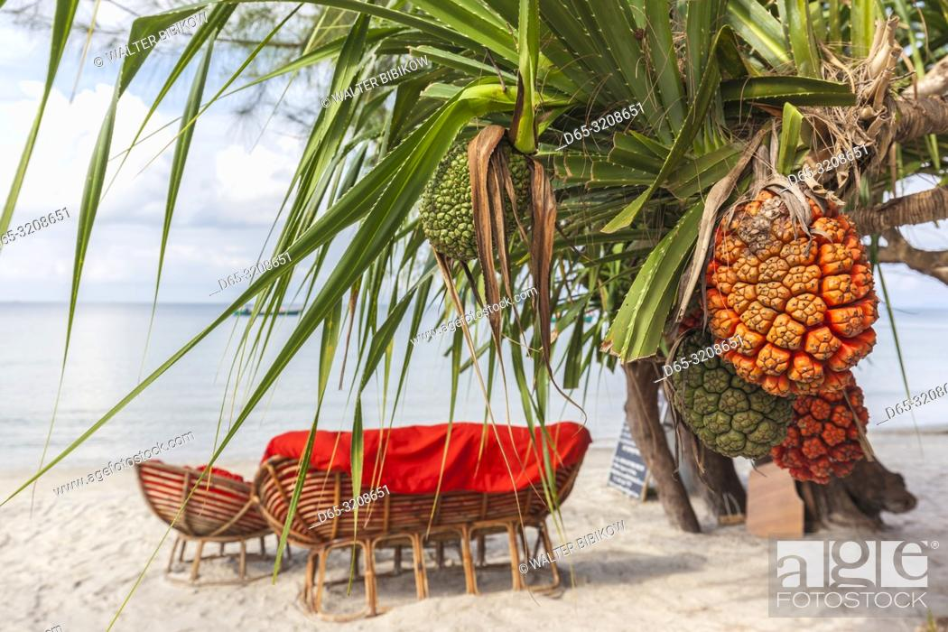 Stock Photo: Cambodia, Sihanoukville, Otres Beach, beach bar.