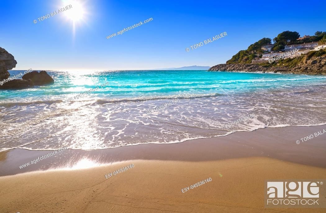 Stock Photo: Cala Crancs Salou beach in Tarragona of Catalonia.