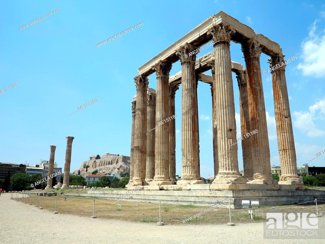 Stock Photo: Temple of Olympian Zeus in Athens with the Acropolis background.